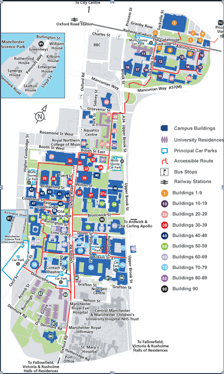 University Of Manchester Campus Map Manchester University Campus Map | Map Of Us Western States